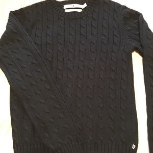Tommy Hilfiger black cotton cable knit sweater